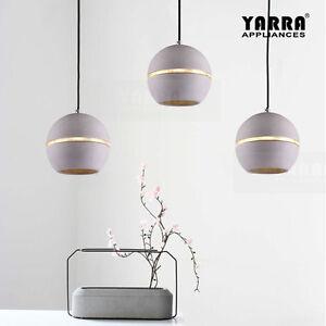 1 lt modern pendant light concrete ball shade ceiling lamp 13m image is loading 1 lt modern pendant light concrete ball shade mozeypictures Images
