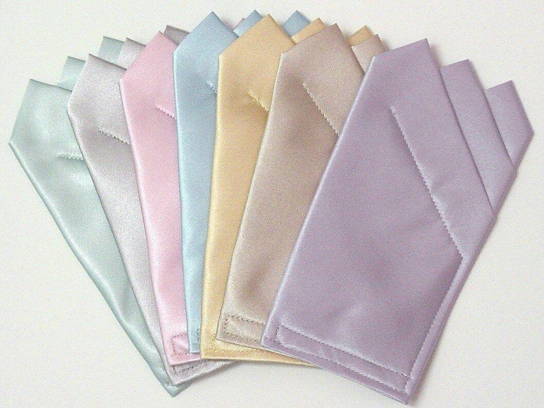 POCKET SQUARES Pastel Satin - Square folded & sewn ready to slip in suit pocket