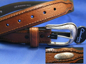 Chambers Western Style Leather Belt w/Silver Inlays & Buckle Brn / Blk - Size 46