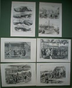 Japan-6-Antique-Prints-Opening-First-Railway-Mikado-Exhibition-Lighthouses-1872