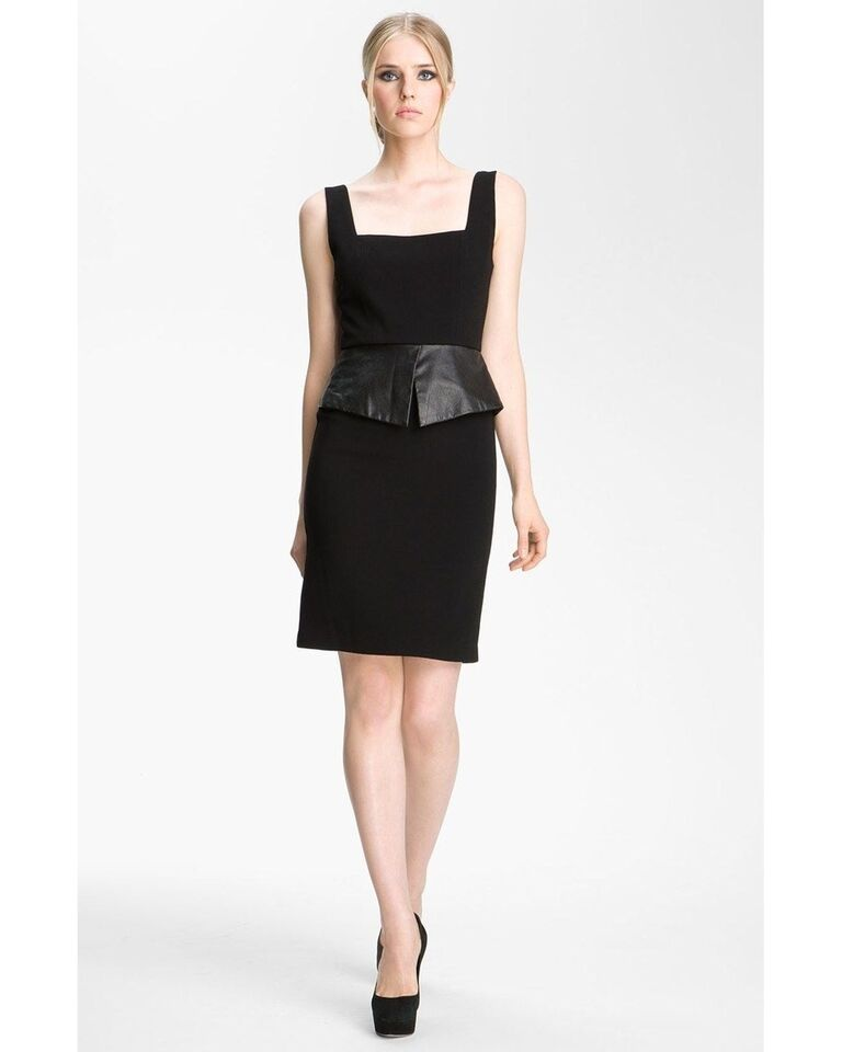 Alice + Olivia Maddy Leather Peplum Dress Size 8 NEW