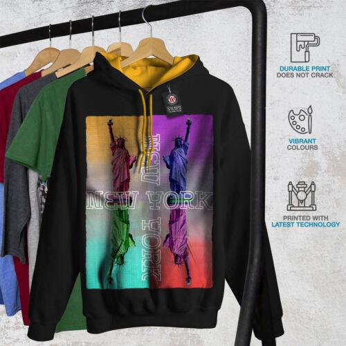 America Fashion dorada Contraste Negro con capucha Nueva York capucha Men 5qEB4