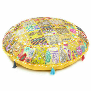 """EMBROIDERED YELLOW 32"""" ETHNIC COTTTON ROUND POUF PATCH WORK FLOOR CUSHION COVER"""
