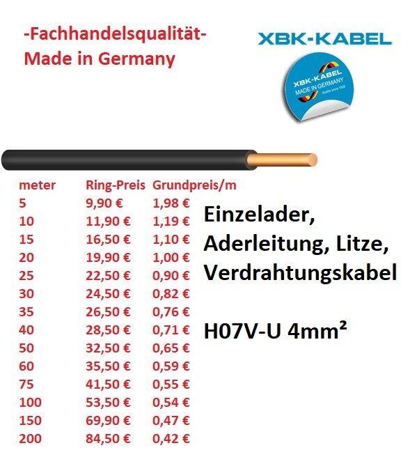 H07V-U 4 mm² Aderleitung, Litze Verdrahtungskabel starr schwarz