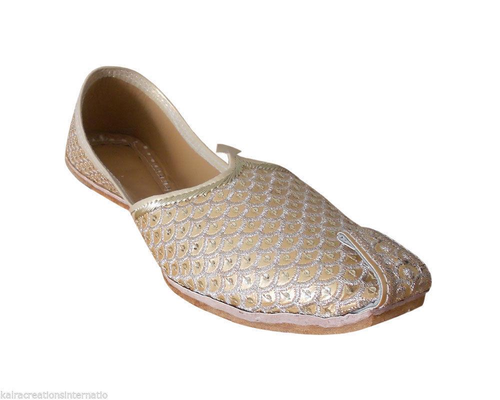 Traditional Men Wedding Shoes Punjabi Khussa Loafers & Slip Ons Mojari Flat US 7