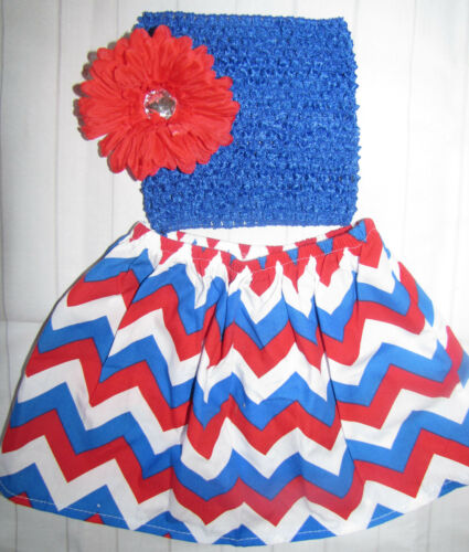 NEW Baby girl 9-24 MONTHS 4th of July chevron skirt top flower outfit 2pc set