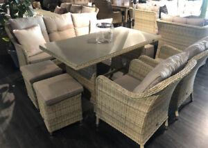 Davos Dining Lounge Garnitur Sitzgruppe Gartenmöbel Polyrattan Hoher