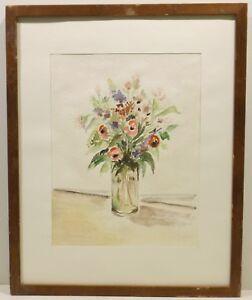 """"""" Coloré Bouquet De Fleurs En Vase """" Aqua. Sign. Ou P.oertle 11.89 In Cadre Les Consommateurs D'Abord"""