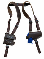 Brown Leather Thumb Break Shoulder Holster W/mag Pouch Kimber Ruger 380 9mm 40