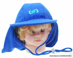 LYCRA-CAP-HAT-BEACH-SUN-Boys-Child-Blue-w-Chin-Strap-NEW-56cm-NWT-UPF-50