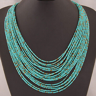 Bohemia Handmade Cluster Multilayer Pendant Beads Long Necklace Jewellery Gift