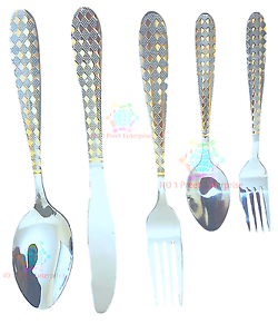 30 PC GLAMOUR  STAINLESS STEEL CUTLERY SET IN GOLD /& SILVER KITCHEN SERIES