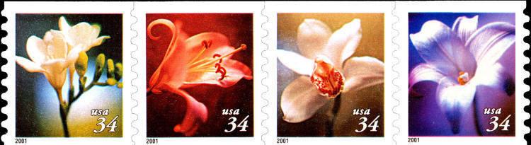 2001 34c Flowers, Strip of 4 Scott 3478-3481 Mint F/VF