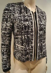 Blend Cotton Cream Blazer Jacket Wool Sz40 Black Sandro Round Neck amp; Long Sleeve 6qwTEX