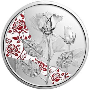 10 Euro Silbermünze Rose 2021 Mit der Sprache der Blumen in Polierte Platte