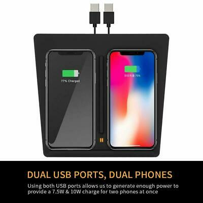 Black Dual Qi Wireless Mobile Phone Charger USB Charging Base For Tesla Model 3