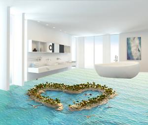 Isla Mar Amor 3D Piso impresión de parojo de papel pintado mural 84 5D AJ Wallpaper Reino Unido Limón