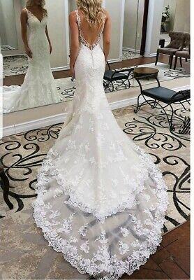 Uk Backless Bridal V Neck Sleeveless Lace Mermaid Beach Wedding Dresses Sz 6 16 Ebay
