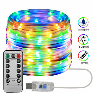 Remote 33Ft//10M Waterproof LED Rope Strip Light Multi-color Outdoor Changing
