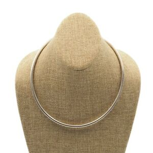 Vintage-Estate-Silver-Tone-5mm-Round-Omega-Flexible-Necklace-Push-Pull-Clasp
