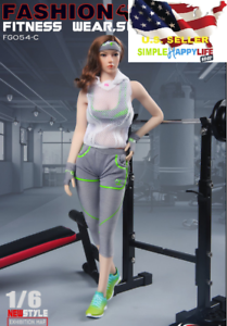 "1//6 Femmes Fitness Costume Fashion Gray Set Pour 12/"" Figurine Phicen Hot Toys ❶ USA ❶"
