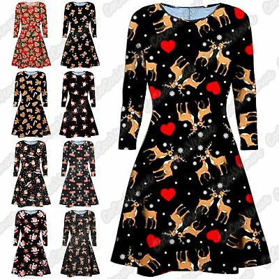 New Ladies Girls Reindeer Santa Print Flared Christmas Party Xmas Swing Dress