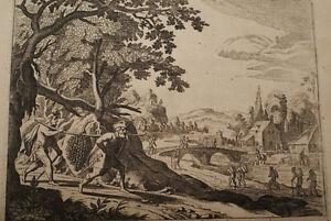 GRAVURE-SUR-CUIVRE-DOUZE-ESPIONS-CHANAAN-BIBLE-1670-LEMAISTRE-DE-SACY-B50