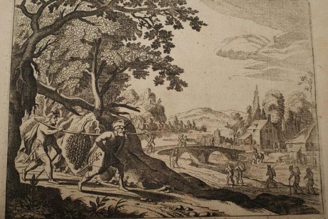 GRAVURE SUR CUIVRE DOUZE ESPIONS CHANAAN-BIBLE 1670 LEMAISTRE DE SACY  (B50)