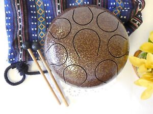 WuYou-8-inches-19cm-Steel-Tongue-Drum-Handpan-perfect-chakra-healing-Brown