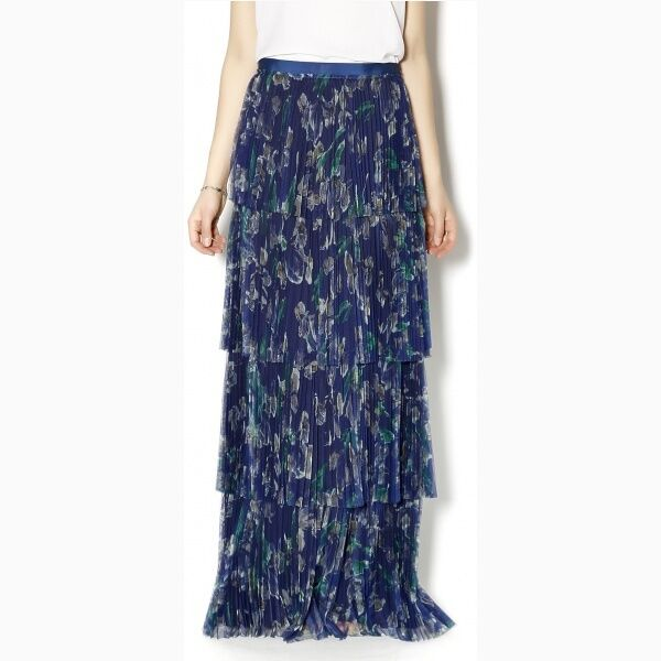 NWT Marchesa Voyage Maxi Pleated Skirt Size 8   595
