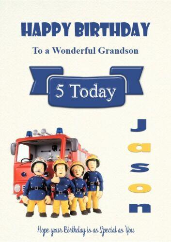 Personalised anniversaire Card Fireman Sam son Grandson Nephew Brother