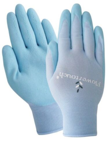 Ladies Medium Gardening Gloves A202 M Flowertouch Foam Latex Nitrile Glove Blue
