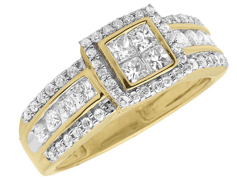 10k Yellow gold Ladies Round Princess Diamond Prong Engagement Wedding Ring 1 ct