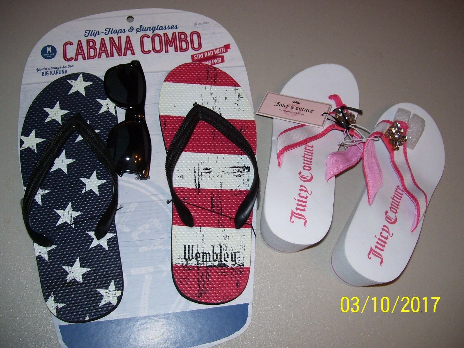 NEW MENS FLIP FLOPS & SUNGLASSES, WEMBLEY SIZE 9-10 + LADIES JUICY COUTURE 7-8