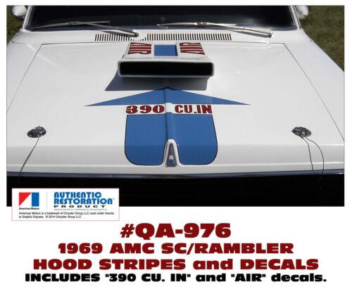 LICENSED SC//RAMBLER SP AMERICAN MOTORS HOOD DECAL KIT QA-976 1969 AMC