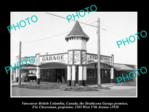 OLD 8x6 HISTORIC PHOTO OF VANCOUVER CANADA, THE STRATHCONA MOTOR GARAGE c1920