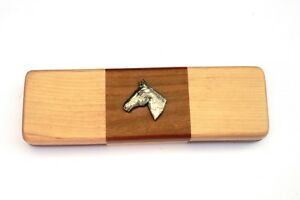 Horse Head Chequered Wooden Pen Set Black Ball Point Pens Horse Riding Gift JehKej3Z-09170203-381872222