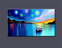 Large Modern Abstract Art Oil Painting On canvas Wall Deco,Boat a#76 No Frame