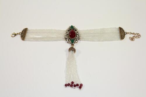 Großes Armband Armkette Perlen Schmuckmetall Steinbesatz Barock Stil
