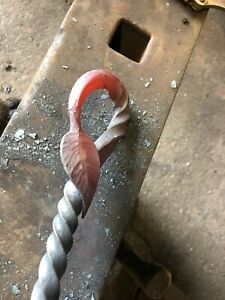 Details About Hand Forged Blacksmith Leaf Poker Fire Poker
