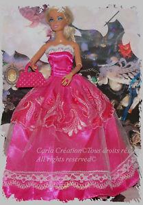 Magnifique-robe-Rose-Bal-de-princesse-Robe-satine-Broderie-et-dentelle-Barbie