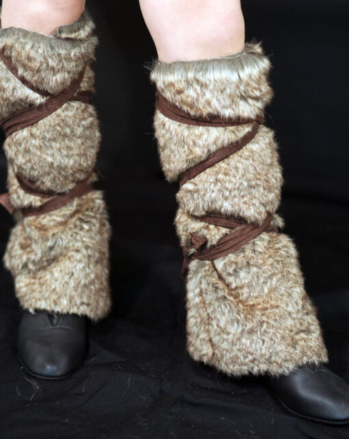 Medieval-LARP-Dark Age-VIKING-Celt-BROWN Fake fur leggings 1 SIZE