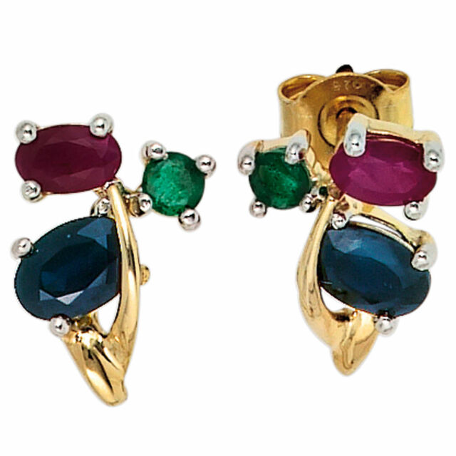 Ohrstecker 585 Gelbgold 2 Rubine 2 Safire 2 Smaragde Ohrringe Goldohrstecker