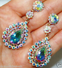 AB Austrian Crystal Chandelier Earrings Rhinestone Bridal Prom Pageant 2.5 in