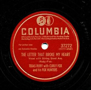 TEXAS-RUBY-with-CURLY-FOX-1947-Columbia-37272-The-Letter-That-Broke-My-Heart