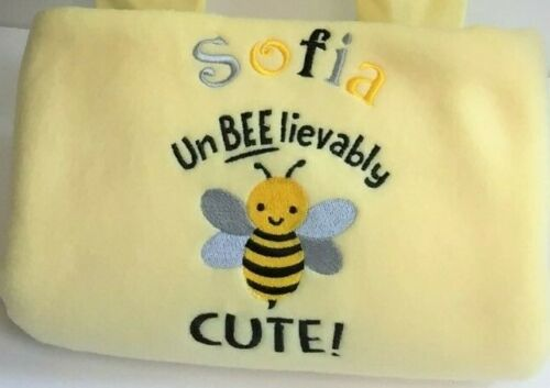 Abeille Design Super Doux Polaire Brodé Baby Bee Personalised Baby Blankets