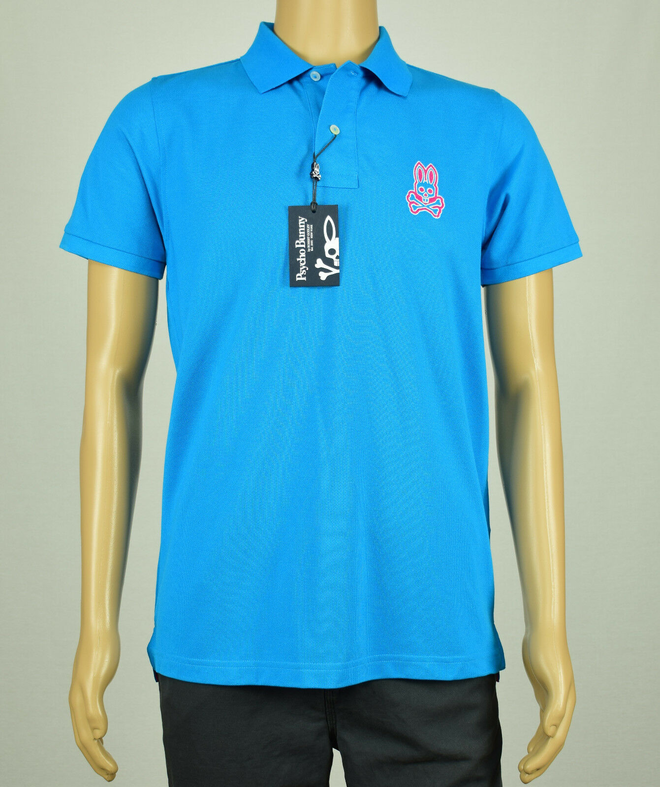 Psycho Bunny Mens Turquoise bluee Short Sleeve Polo Shirt  4(S) 6(L)