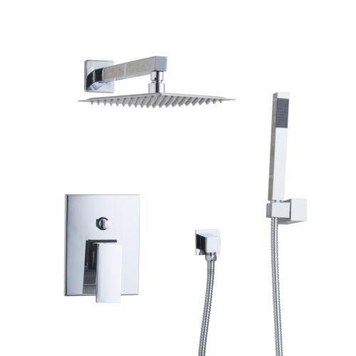 "Wall Mount Bathroom 8/"" Chrome Square Shower Head Mixer Control Valve Hand Spray"