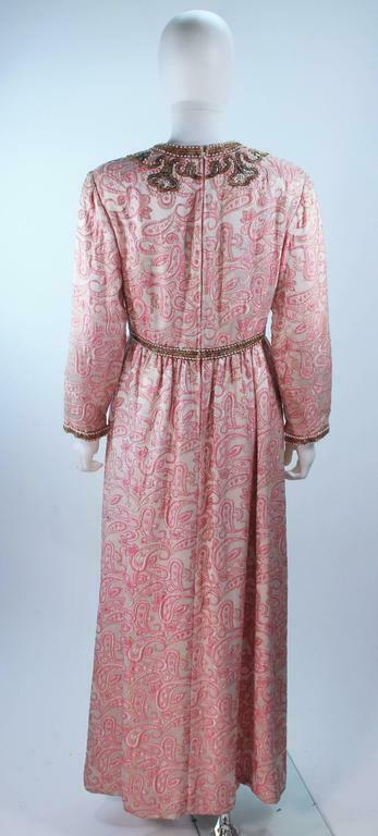CEIL CHAPMAN 1960s Pink Paisley Brocade Gown with… - image 6