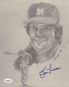 LOU PINIELLA SIGNED 8x10 NY YANKEES SKETCHED AMORE '93 PHOTO JSA AUTHENTICATED